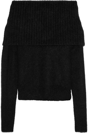 ACNE STUDIOS Off-the-shoulder brushed stretch-knit sweater
