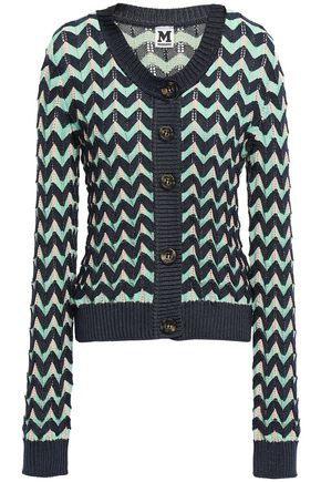 M MISSONI Printed ribbed crochet-knit cardigan