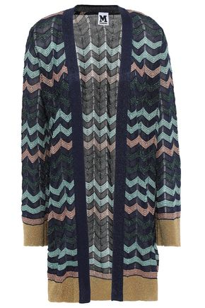 M MISSONI Metallic-trimmed crochet-knit cardigan