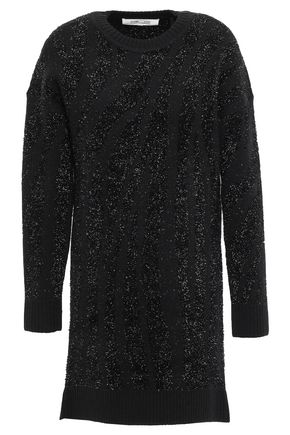 DIANE VON FURSTENBERG Metallic jacquard-knit mini dress