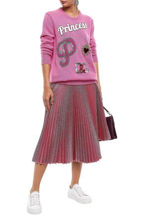 DOLCE & GABBANA Embellished appliquéd cashmere sweater