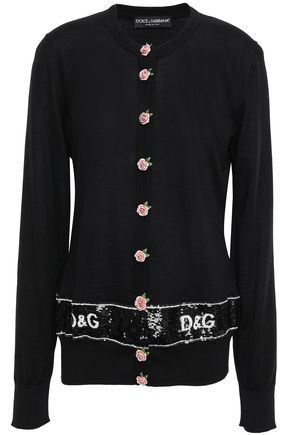 DOLCE & GABBANA Floral-appliquéd cashmere and silk-blend cardigan