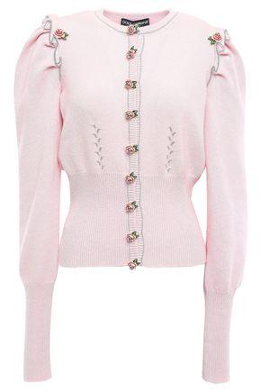 DOLCE & GABBANA Floral-appliquéd cashmere cardigan