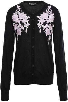 DOLCE & GABBANA Lace-appliquéd cashmere cardigan
