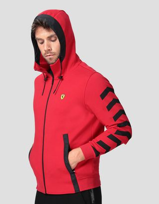 Scuderia Ferrari Online Store - Men's double knit hooded sweatshirt - Zip Jumpers