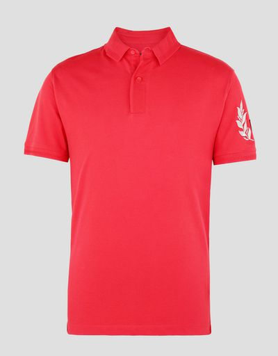 Scuderia Ferrari Online Store - Piqué polo shirt with silver laurel embroidery - Short Sleeve Polos