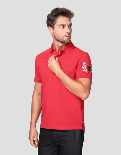 Men's pique polo shirt with silver laurel embroidery