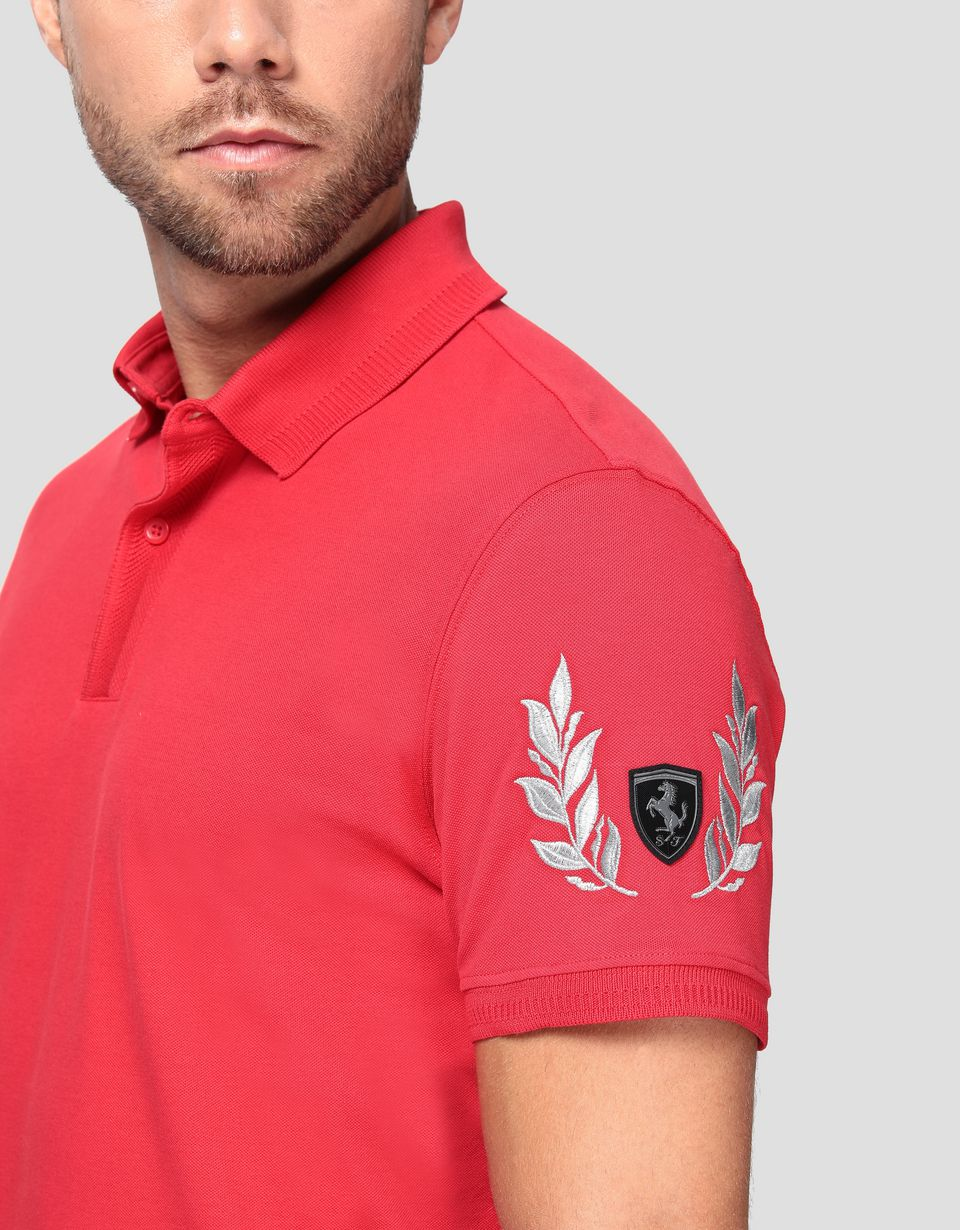 Scuderia Ferrari Online Store - Men's pique polo shirt with silver laurel embroidery - Short Sleeve Polos