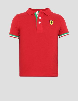 Scuderia Ferrari Online Store - Children's cotton pique polo shirt with three-colour band - Short Sleeve Polos