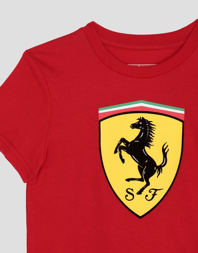 Scuderia Ferrari Online Store - Cotton T-shirt with large Ferrari Shield for boys - Short Sleeve T-Shirts
