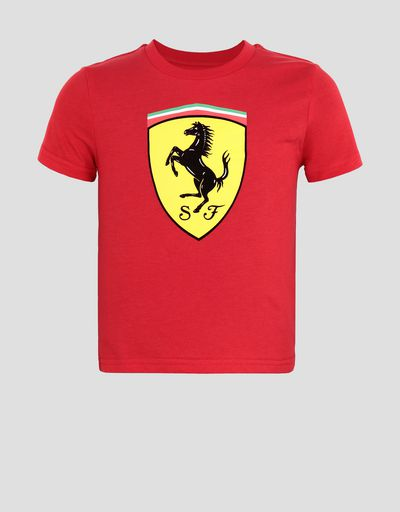 Cotton T-shirt with large Ferrari Shield for boys