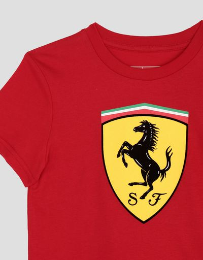 Scuderia Ferrari Online Store - Boys' cotton T-shirt with large Ferrari Shield - Short Sleeve T-Shirts