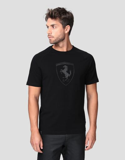 Men's cotton jersey T-shirt with carbon fiber-effect print