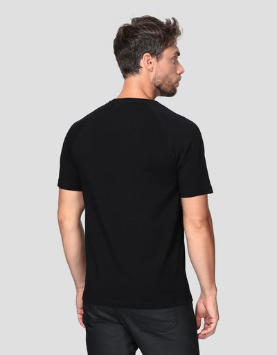 Men's jersey T-shirt with carbon fibre effect print