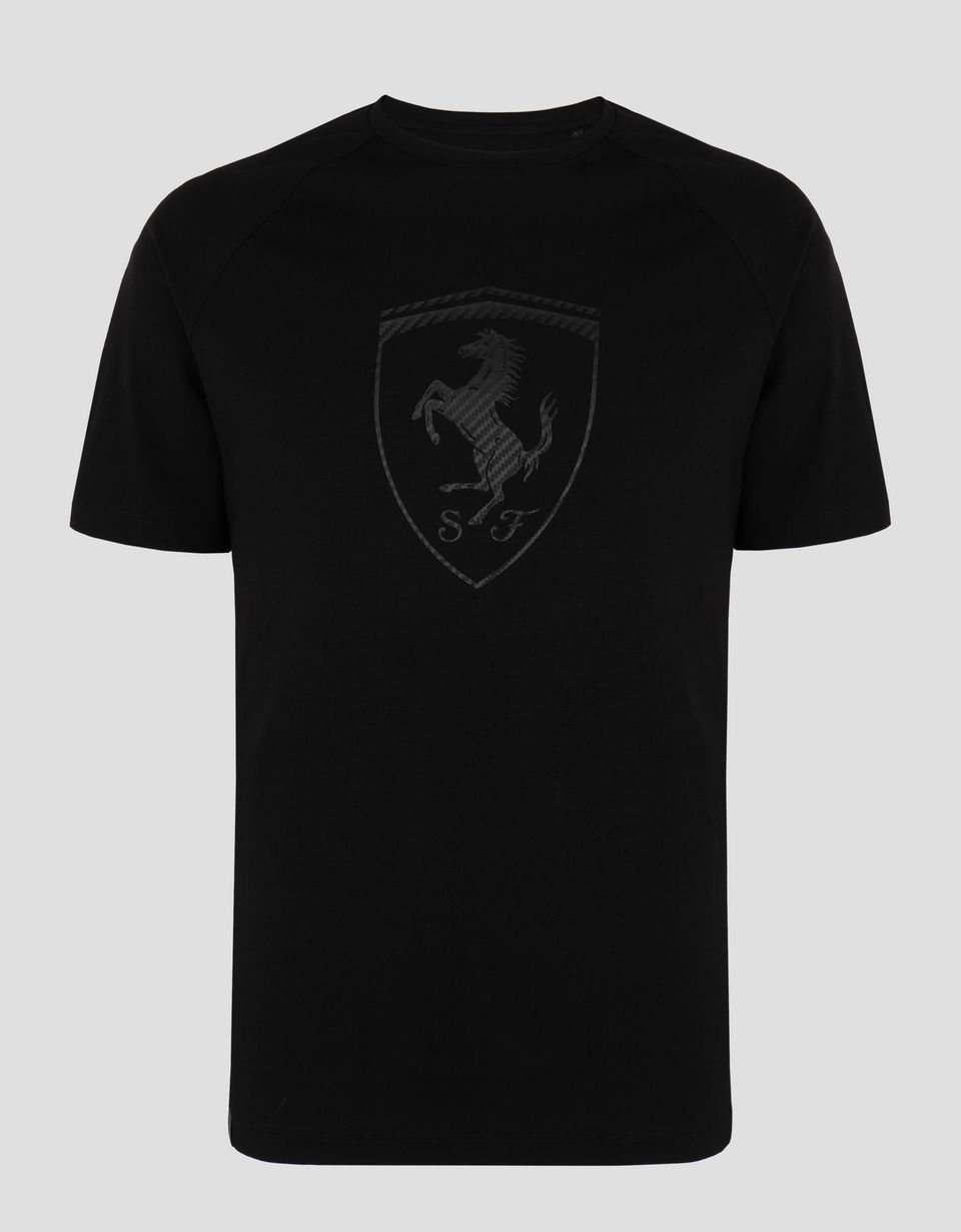 Scuderia Ferrari Online Store - Men's cotton jersey T-shirt with carbon fiber-effect print - Short Sleeve T-Shirts