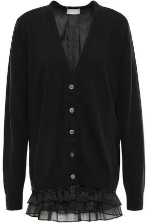 MAILLE CLU Organza-trimmed wool cardigan