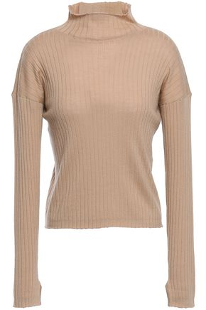 N.PEAL Ribbed cashmere and silk-blend turtleneck top