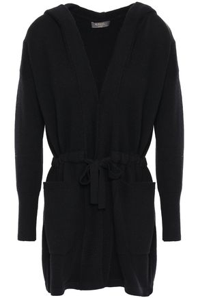 N.PEAL Mélange cashmere and wool-blend hooded cardigan