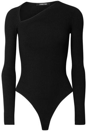CUSHNIE Vivian ribbed-knit thong bodysuit