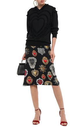 DOLCE & GABBANA Lace-trimmed cashmere and silk-blend sweater