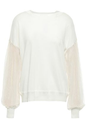 MAILLE CLU Lace-paneled cotton-blend sweater