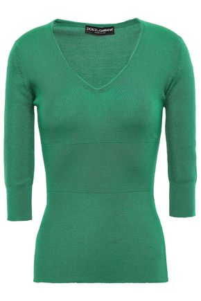 DOLCE & GABBANA Ribbed cashmere and silk-blend sweater