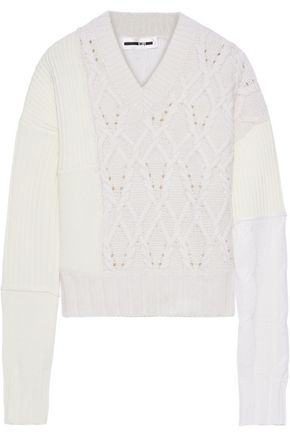 McQ Alexander McQueen Paneled ribbed and cable-knit sweater