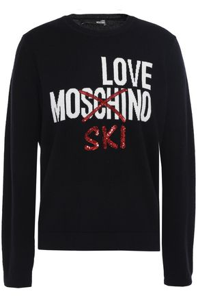 LOVE MOSCHINO Embellished intarsia wool and cashmere-blend sweater