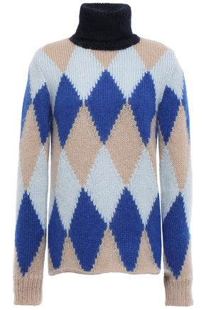 TORY BURCH Argyle intarsia-knit turtleneck sweater