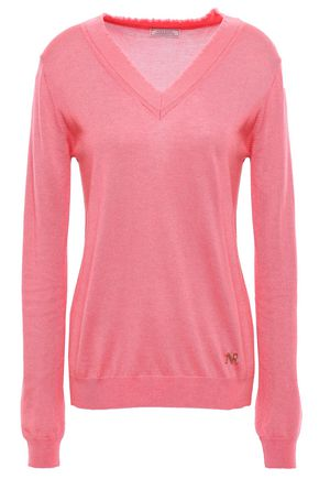 NINA RICCI Frayed silk, cashmere and wool-bend sweater