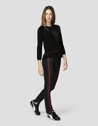 Scuderia Ferrari Online Store - Women's top in Milano rib with rhinestones - Crew Neck Jumpers