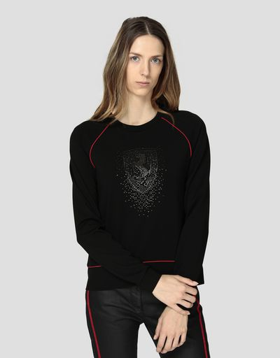 Sweat-shirt pour femme en point de Milan avec strass