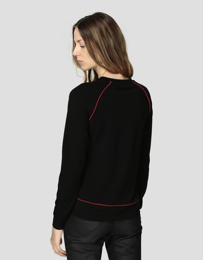 Women's Milano rib sweater with rhinestones