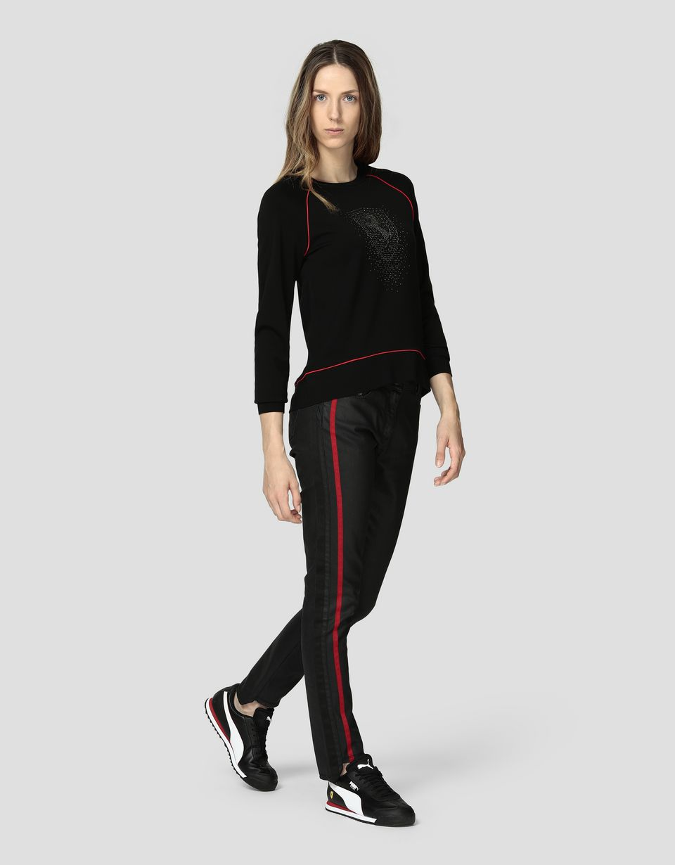 Scuderia Ferrari Online Store - Women's top in Milano rib with rhinestones - Crew Neck Jumpers