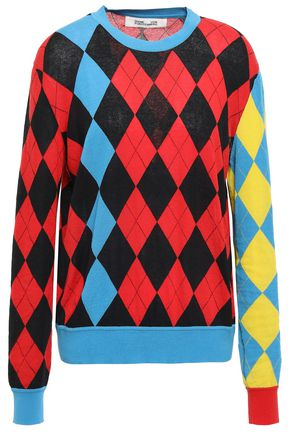 DIANE VON FURSTENBERG Argyle intarsia-knit cotton-blend turtleneck sweater