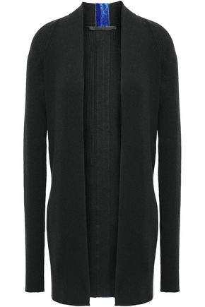 HAIDER ACKERMANN Velvet-trimmed ribbed cotton and wool-blend cardigan