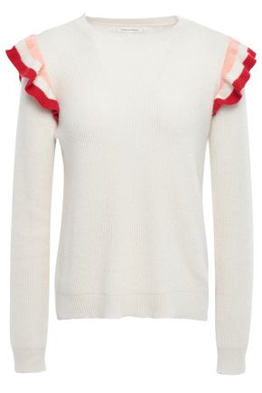 CHINTI AND PARKER Ruffle-trimmed ribbed cashmere sweater