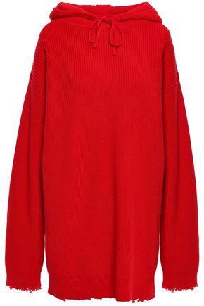 RTA ほつれ加工 リブ編みコットン フード付きセーター