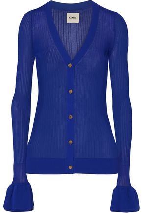 KHAITE Eloise ribbed stretch-knit cardigan