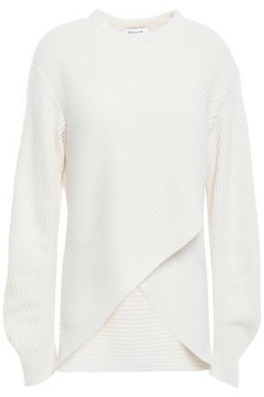 MUGLER Asymmetric ribbed wool and cashmere-blend sweater