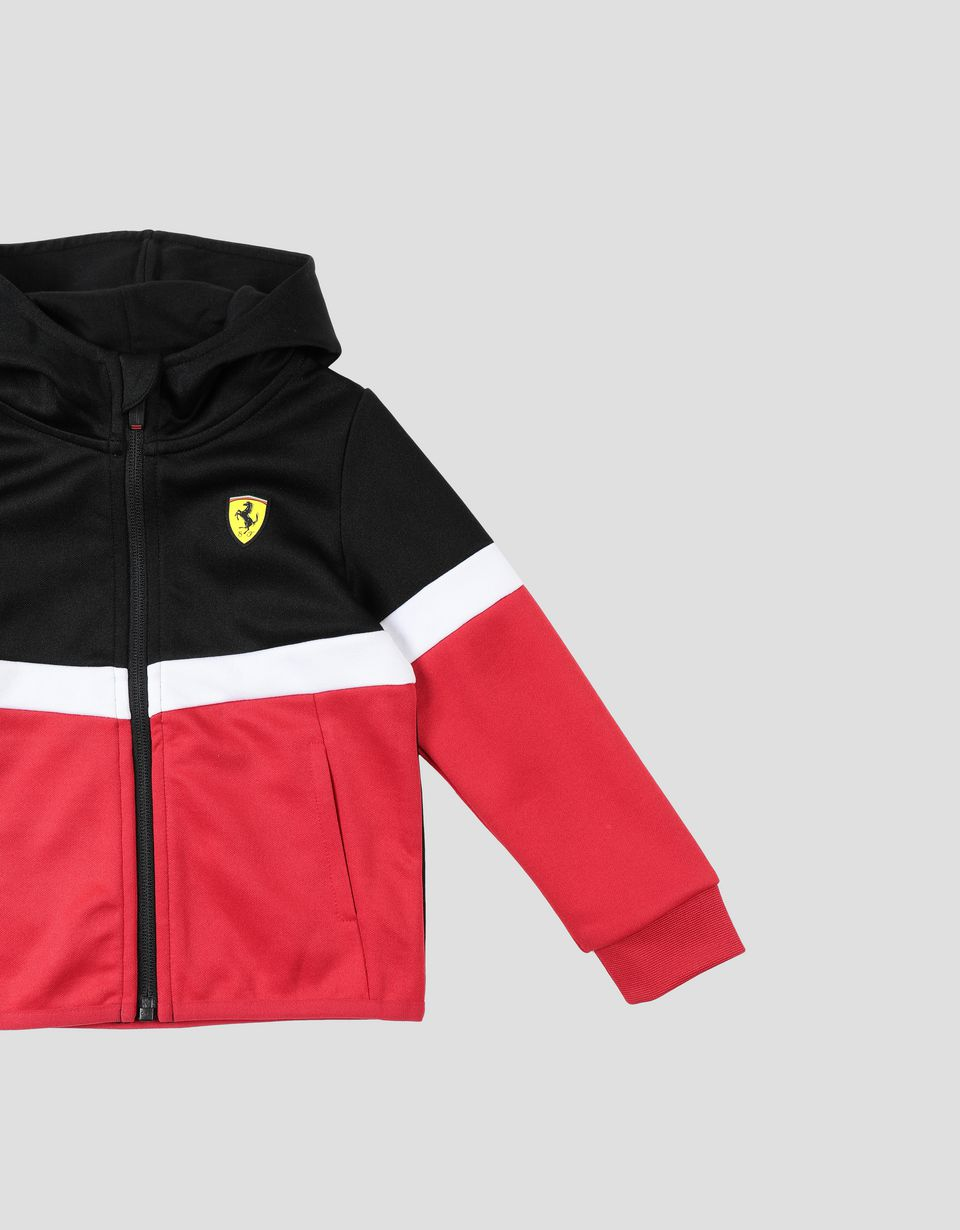 Scuderia Ferrari Online Store - Triacetate full zip track jacket for boys and girls - Zip Hood Jumpers