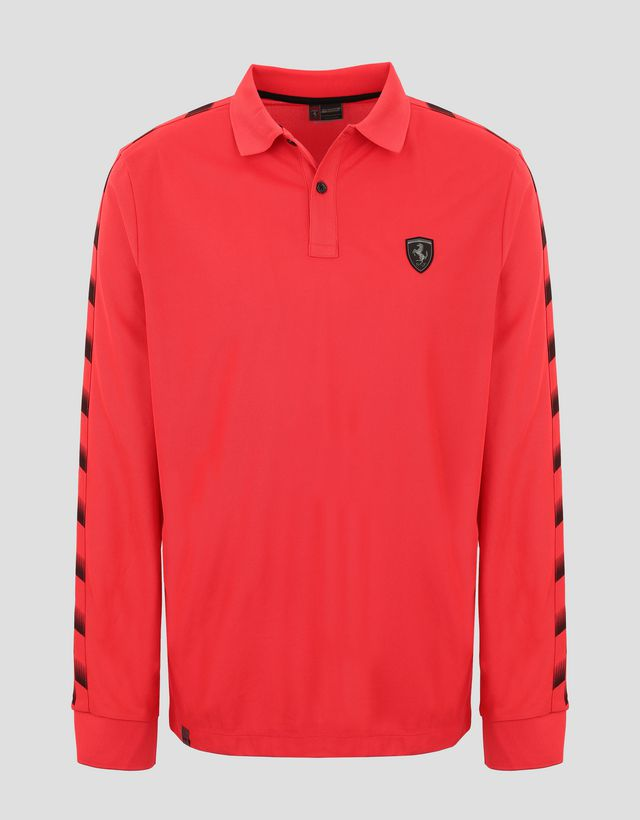 Scuderia Ferrari Online Store - Men's polo shirt in technical piqué with chequered pattern - Long Sleeve Polos