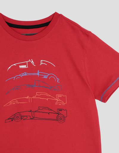 Scuderia Ferrari Online Store - Kids' cotton jersey T-shirt with racing print - Short Sleeve T-Shirts