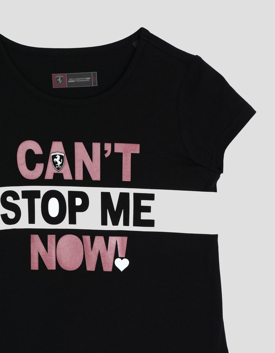 Scuderia Ferrari Online Store - Girl's T-shirt with CAN'T STOP ME NOW! print - Short Sleeve T-Shirts
