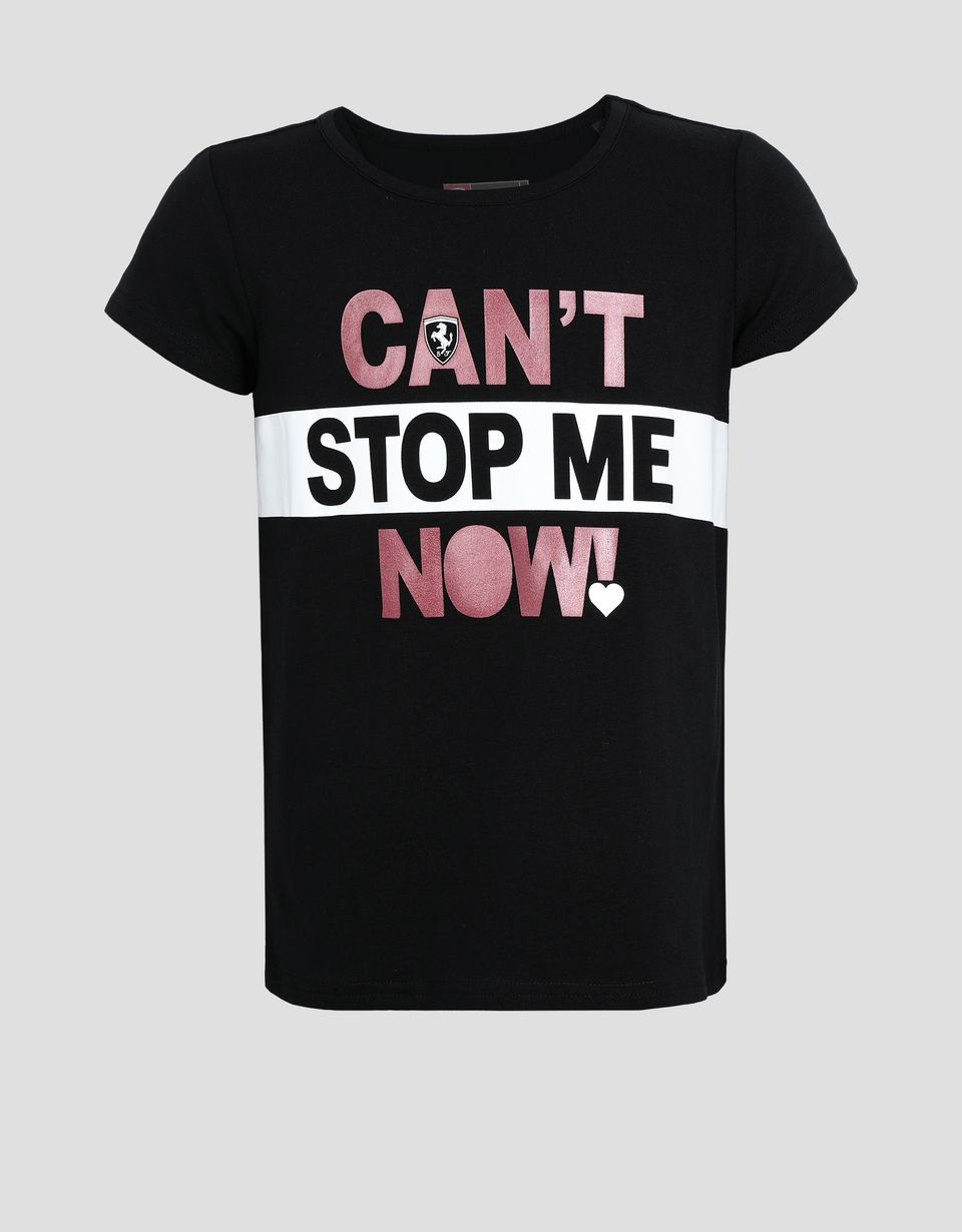 Scuderia Ferrari Online Store - Girls' T-shirt with CAN'T STOP ME NOW! print - Short Sleeve T-Shirts