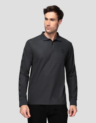 Men's technical piquet polo sweater with checkered pattern