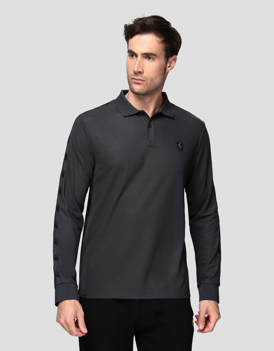 Scuderia Ferrari Online Store - Men's polo shirt in technical piqué with chequered pattern -