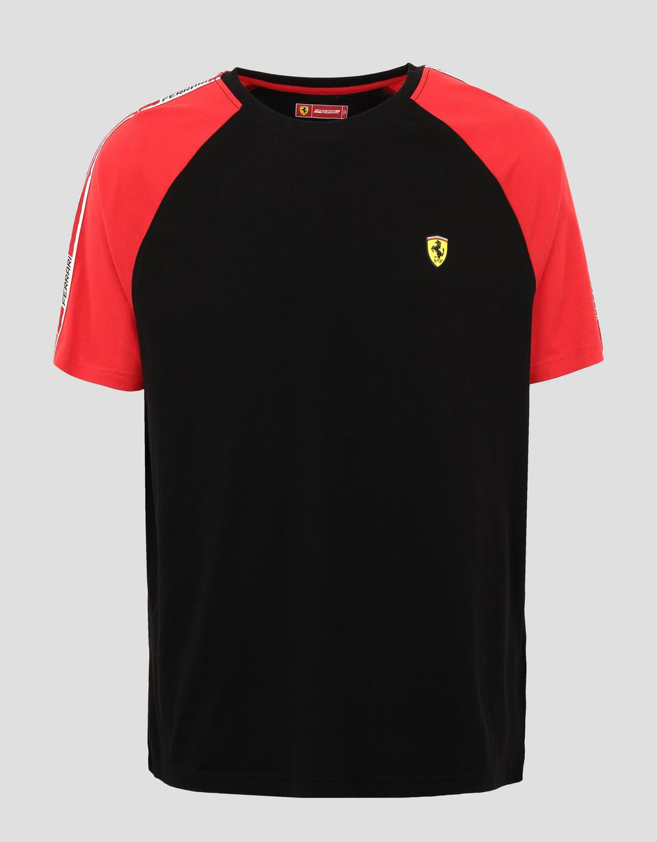 Scuderia Ferrari Online Store - Men's cotton T-shirt with Icon Tape - Short Sleeve T-Shirts