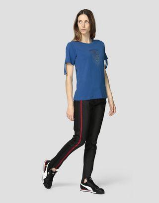 Scuderia Ferrari Online Store - Women's jersey T-shirt with Ferrari Shield in rhinestone - Short Sleeve T-Shirts