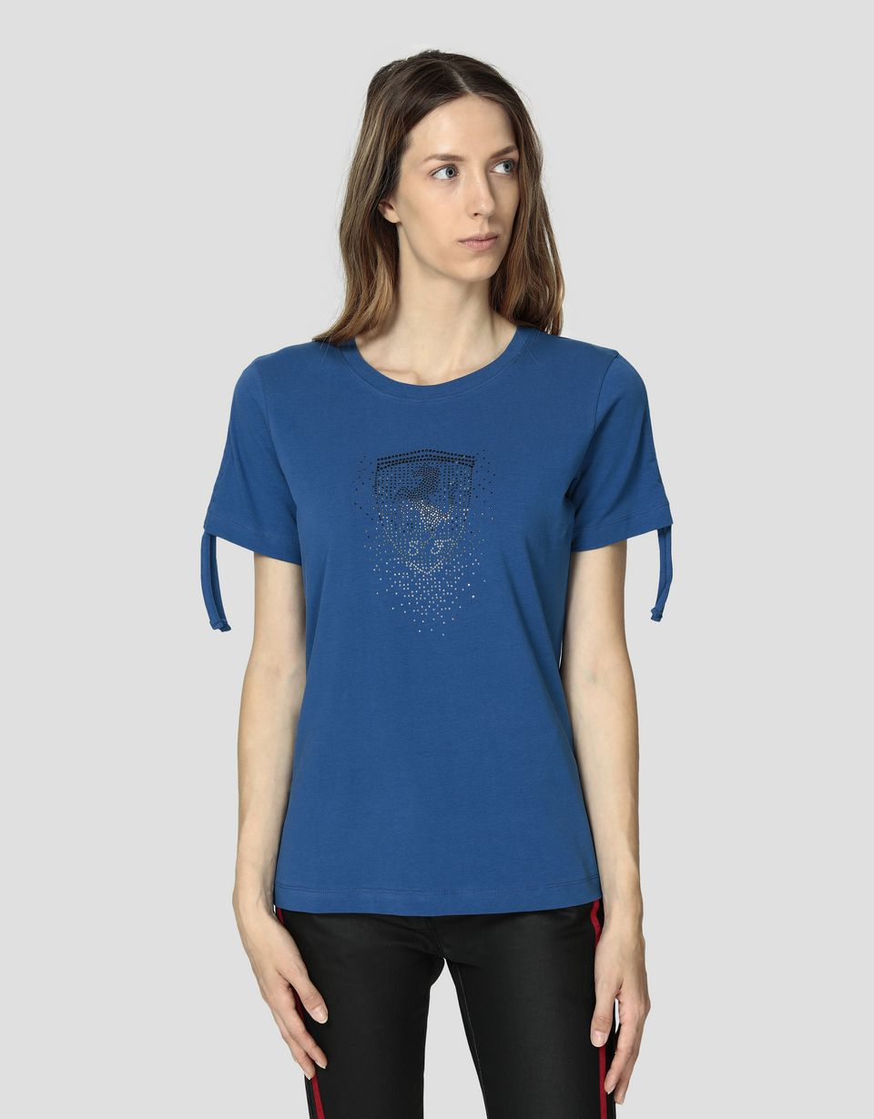 Scuderia Ferrari Online Store - Women's jersey T-shirt with rhinestone Ferrari Shield - Short Sleeve T-Shirts